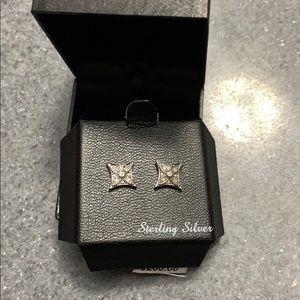 NWT Macy's Diamond Sterling Silver Stud Earrings
